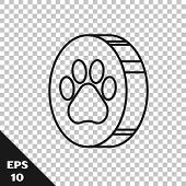 Black Line Paw Print Icon Isolated On Transparent Background. Dog Or Cat Paw Print. Animal Track. Ve poster