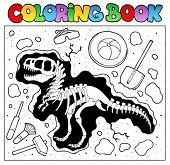 Coloring book with excavation site - vector illustration.