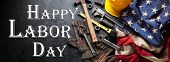 Happy Labor day background with construction and manufacturing tools with patriotic US, USA, America poster