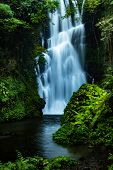 Waterfall Landscape. Beautiful Hidden Waterfall In Tropical Rainforest. Jungle River. Adventure And  poster