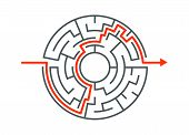 Circle Maze Vector Labyrinth Game. Round Puzzle Circular Maze With Solution. Complex Labyrunth Patte poster
