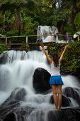 Excited Caucasian Woman Raising Arms In Front Of Waterfall. View From Back. Young Traveler Woman Sta poster