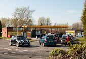 TELFORD, UK-MARCH 29: Petrol queues, motorists face long queues and fuel shortages following a UNITE