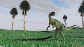dilophosaurus on grass plane