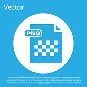 Blue Png File Document. Download Png Button Icon Isolated On Blue Background. Png File Symbol. White poster