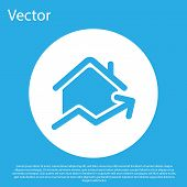 Blue Rising Cost Of Housing Icon Isolated On Blue Background. Rising Price Of Real Estate. Residenti poster