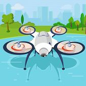 A Drone With A Camera Flies Through The Park Area. Flying Over Water. Houses In The Background. Dron poster