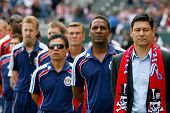 CARSON, CA. - APRIL 10:  Chivas USA head coach Martin Vasquez (R) before the Chivas USA vs New York