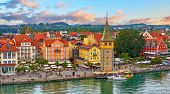 Lindau, Germany. Antique Bavarian town in Bavaria at coastline of Lake Constance (Bodensee). Habour  poster