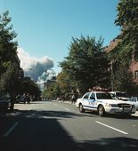 NEW YORK - SEPTEMBER 11: Smoke billows from the area known as Ground Zero after the collapse of the