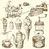 coffee, cake, ice cream - hand drawn set