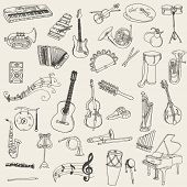 foto of wind instrument  - Set of Music Instruments  - JPG
