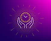 Safe Time Line Icon. Halftone Pattern. Clock Sign. Hold Watch Symbol. Gradient Background. Safe Time poster