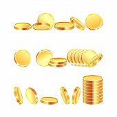 Set Of Gold Coins. Attributes For Business. Deposits And Deposits, Finance. On A White Background. poster