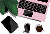 Desktop Top View. Flat Illustration For Business, Freelancer, Training. Desktop With Laptop, Tablet, poster