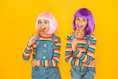 Kids With Artificial Hairstyles Eating Lollipops. Anime Convention. Vibrant Characters Fantastical T poster