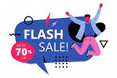 Flash Sale Banner Ads Template. Modern Faceless Male Caracter Jumping In The Air With Flash Sale Wor poster