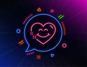 Smile Face Line Icon. Neon Laser Lights. Happy Emoticon Chat Sign. Heart Face Symbol. Glow Laser Spe poster