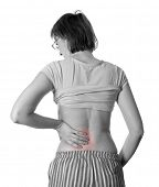 Woman with back pain. Rheumatism