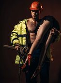 Passionate Couple Concept. Vibrant With Passion. Sexual Game Is Your Passion. Firefighter Sexy Body  poster