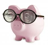 Piggy bank with glasses in isolated white background  Franklin's eyes concepts