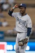 LOS ANGELES - 29 de AUG: Padres de San Diego 2B Orlando Hudson #1 durante el juego de Padres vs Dodgers en Au