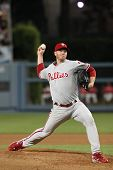 LOS ANGELES - AUG 30: Phillies pitcher (#34) Roy Halladay during the Phillies vs. Dodgers game on Au