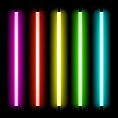 Luz del tubo de neón. Vector.