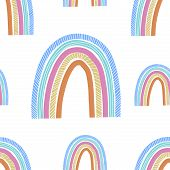 Cute Hand Drawn Rainbow, Childish Print. Best For T-shirt, Poster, Wrapping Paper, Decoration. Vecto poster