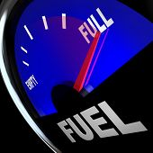 The needle pointing to Full on a fuel gauge representing a filled gas tank so you have the power and