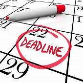 The word Deadline circled on a calendar to remind you of an important due date or countdown for your