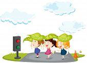 Illustration of kids crossing the street