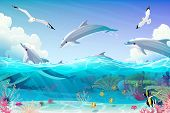 Vector Cartoon Underwater Sea, Dolphins Nautical Clipart poster