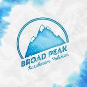 Mountain Broad Peak Logo. Round Mountain Turquoise Vector Insignia. Broad Peak In Karakoram, Pakista poster