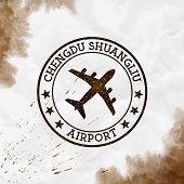 Chengdu Shuangliu Airport Logo. Airport Stamp Watercolor Vector Illustration. Chengdu Aerodrome. poster