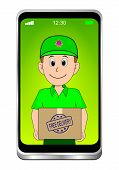Smartphone With Friendly Courier Delivering A Parcel With Free Delivery Rubber Stamp - 3d Illustrati poster