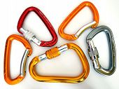 Climbing Equipment- Five Multicolor Carabiners