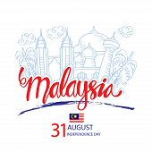 Malaysia Independence Day Celebration With City Skyline. August 31. poster