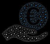 Glossy Mesh Euro Salary With Lightspot Effect. Abstract Illuminated Model Of Euro Salary Icon. Shiny poster
