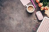 Flat Lay Female Workspace - Modern Keyboard, Mouse, Cup Of Coffee, Rose Flowers, Jewelry And Station poster