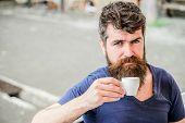 Enjoy Hot Drink. Hipster Drinking Fresh Brewed Coffee. Bearded Guy Consume Caffeine. Espresso Arabic poster