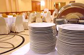 picture of chafing  - photograph of plates at buffet or banquet - JPG