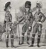 Officer and a Guardsman at the time of Emperor Paul I (1797). Engraving by  Shyubler. Published in magazine