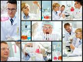 Collage of clinicians studying new substance in laboratory