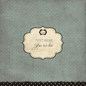 Vintage polka dot card with frame and brooch, scrap template of worn distressed design