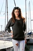 foto of piraeus  - Young woman at the port of Piraeus Greece - JPG
