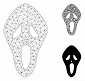 Mesh Scary Mask Model With Triangle Mosaic Icon. Wire Carcass Triangular Mesh Of Scary Mask. Vector  poster