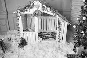 Christmas Fairy Tale. Small Cute Wooden Toy House Interior Background. Decorations For Christmas Hol poster