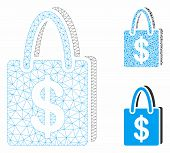Mesh Shopping Bag Model With Triangle Mosaic Icon. Wire Frame Triangular Mesh Of Shopping Bag. Vecto poster
