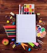 Back To School Background Concept. School Supplies On A Wooden Background. Education Background Conc poster